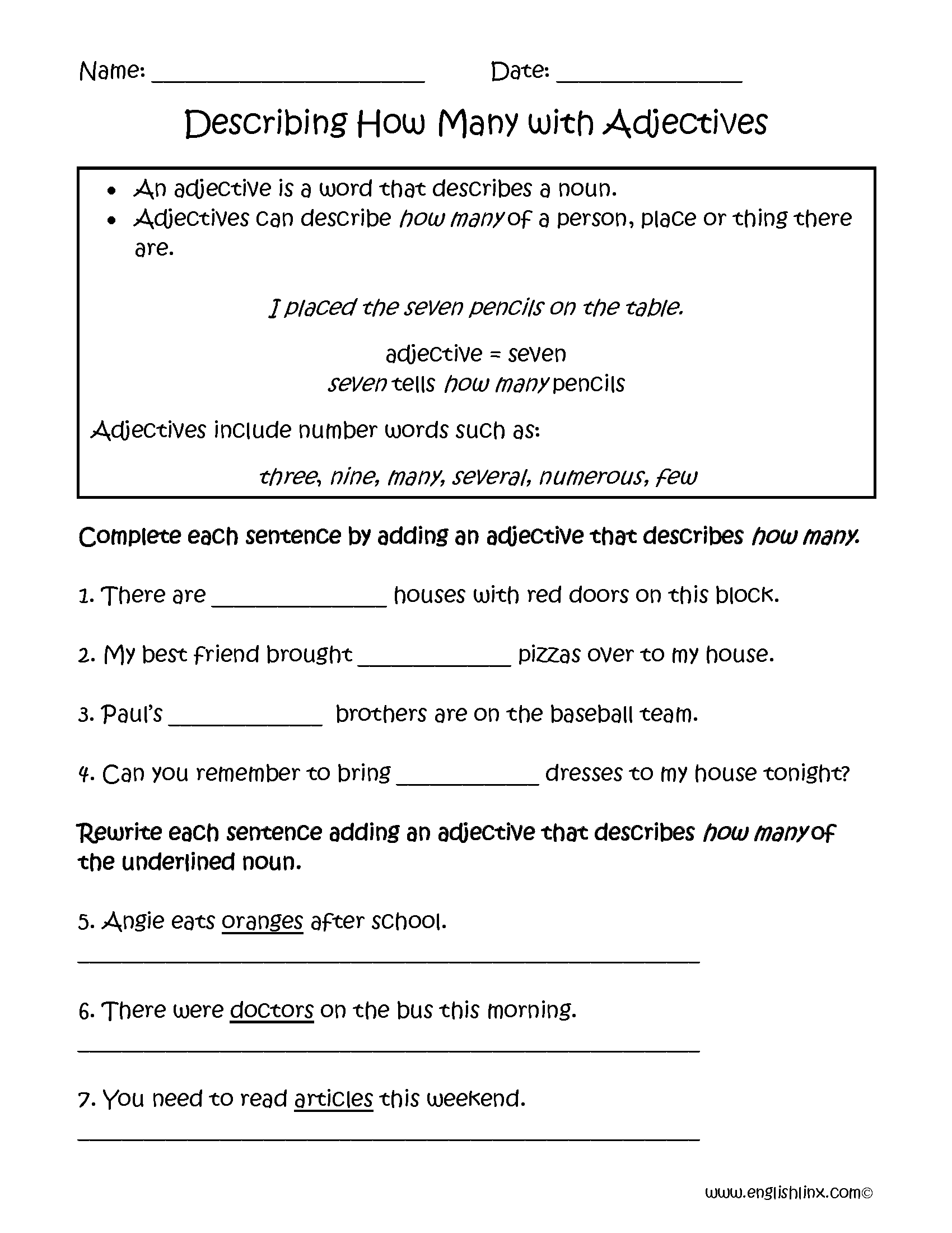 small resolution of Describing How Many Adjectives Worksheets   Adjective worksheet