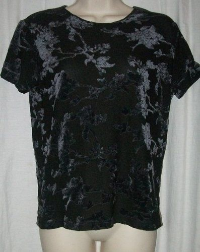 $12.99   Banana Republic Black Abstract Floral Nylon Rayon Blend Short Sleeve Top M