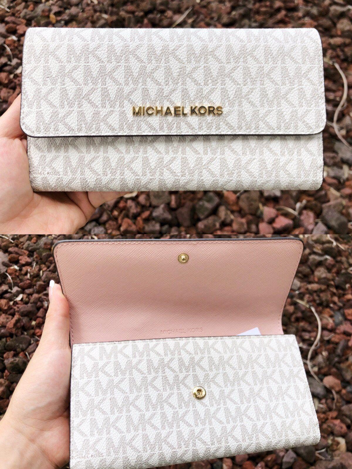 3e6f0119403d Michael Kors Jet Set Travel PVC Large Trifold Wallet Vanilla MK Pastel Pink  #GabysBags #Handbags