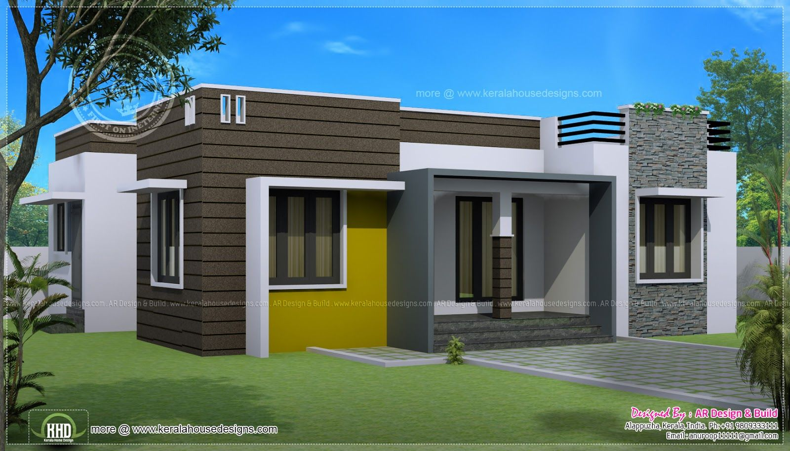 Sq ft house provision stair future expansion home kerala for Single story 4 bedroom modern house plans
