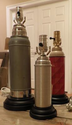Lamps made out of vintage thermoses