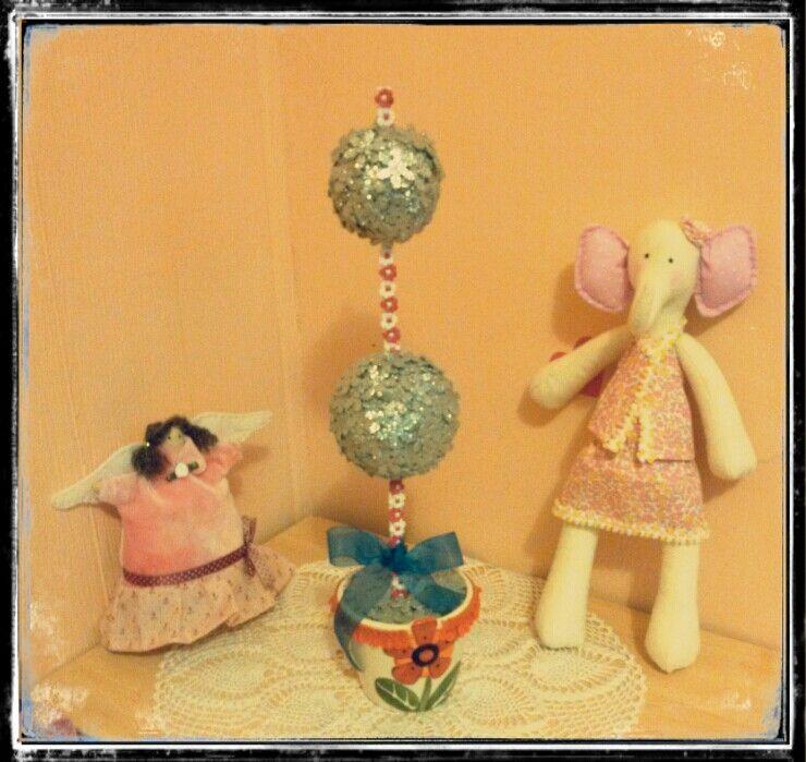 Elefantita, ángel cupcake y topiario christmas