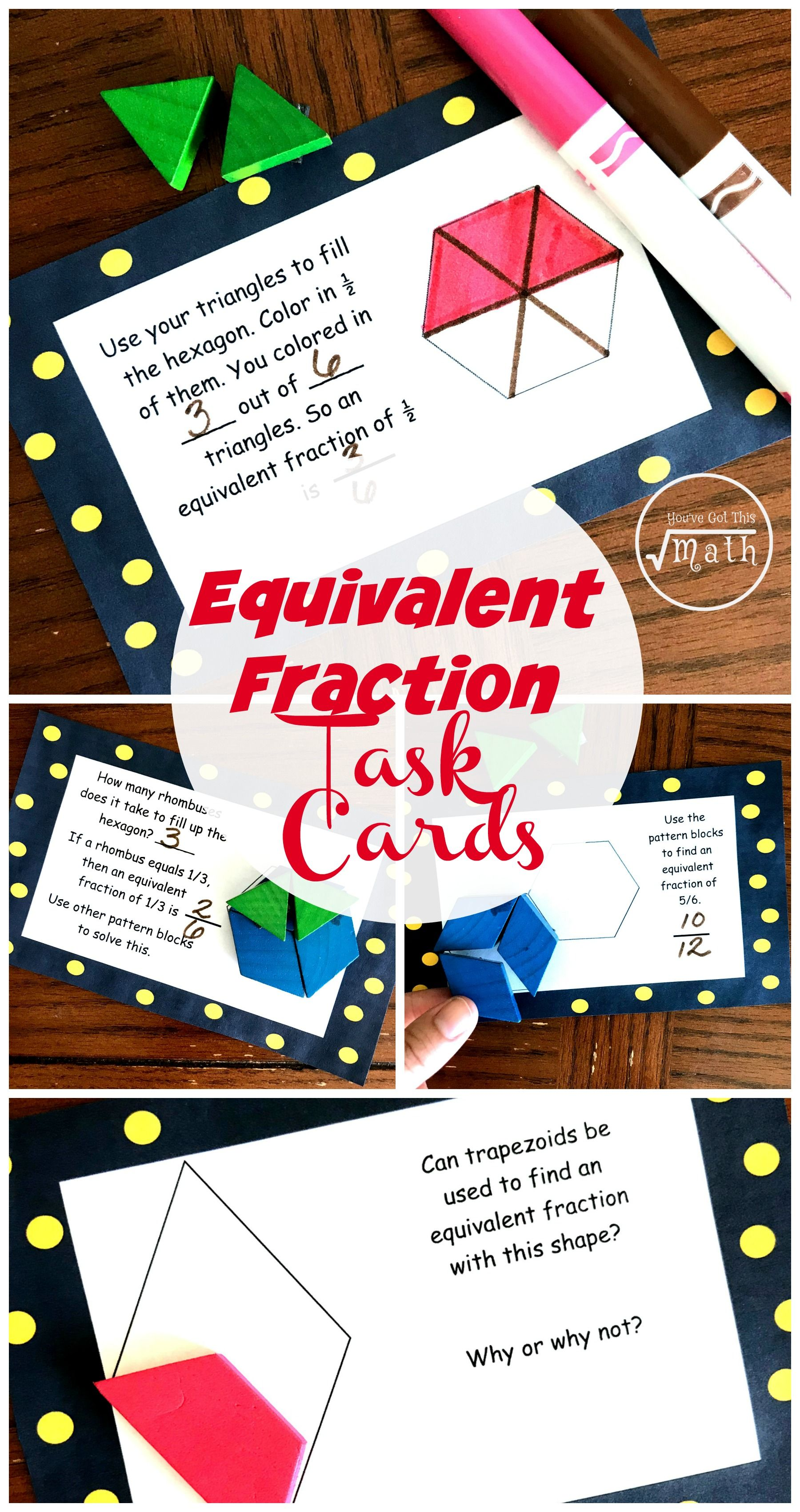 Task Cards For Equivalent Fractions With Pattern Blocks Pattern