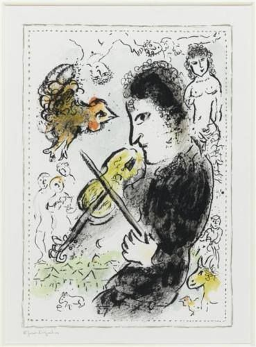 Marc Chagall - Fiddler with ruster