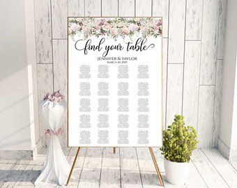 Floral seating chart wedding guest list table assignment editable board find your seat  also rh pinterest