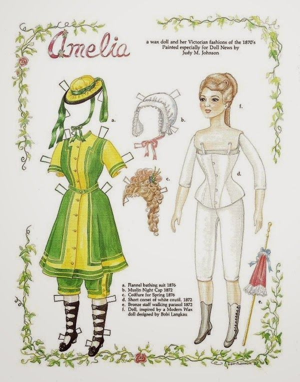 Free Amelia Paper Doll With 1 And 2 Pages Of Clothing