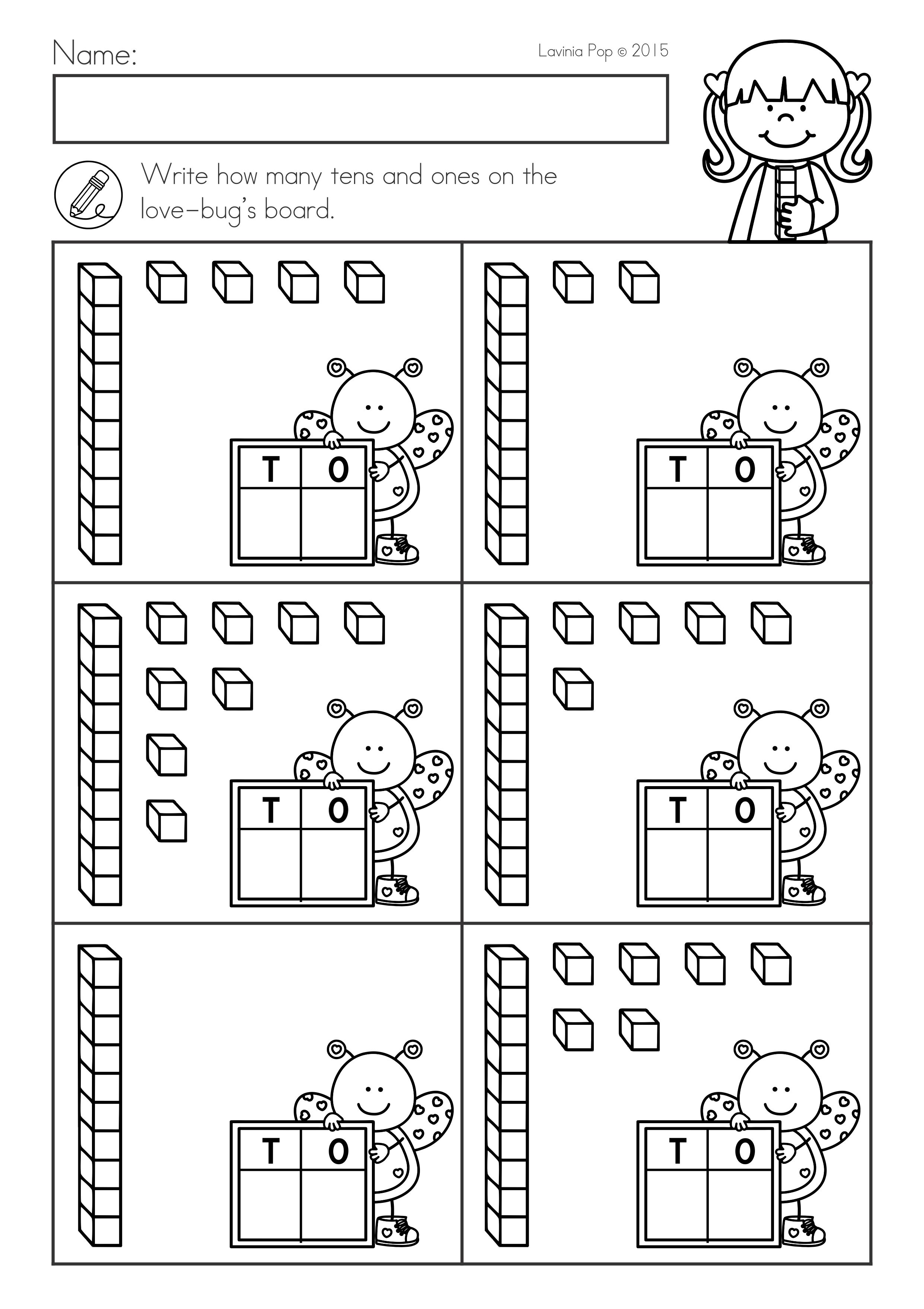 Valentine's Day Math \u0026 Literacy Worksheets \u0026 Activities No Prep. Base ten  blocks.   Kindergarten math worksheets [ 3515 x 2482 Pixel ]