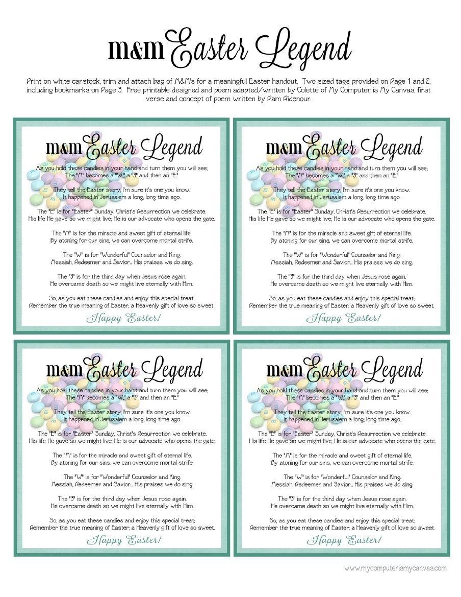 Freebie - Easter M&M Poem Printable | Scribd | Church | Pinterest ...