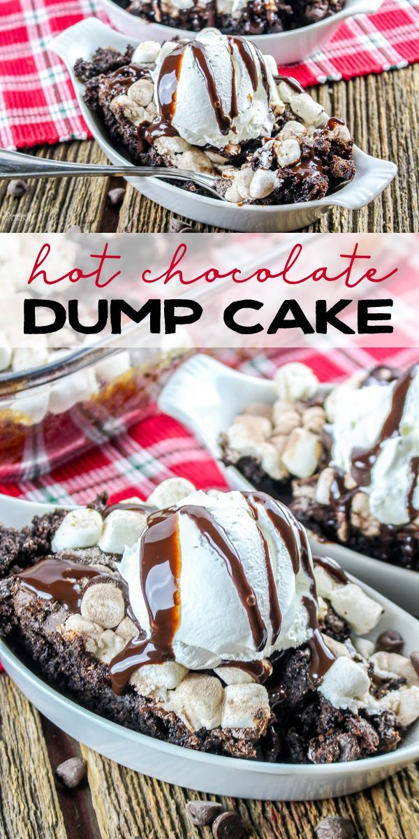 Hot Chocolate Dump Cake Hot Chocolate Dump Cake is a favorite for any chocolate lover! This easy chocolate cake topped with marshmallows is perfect during the holidays or anytime of year!