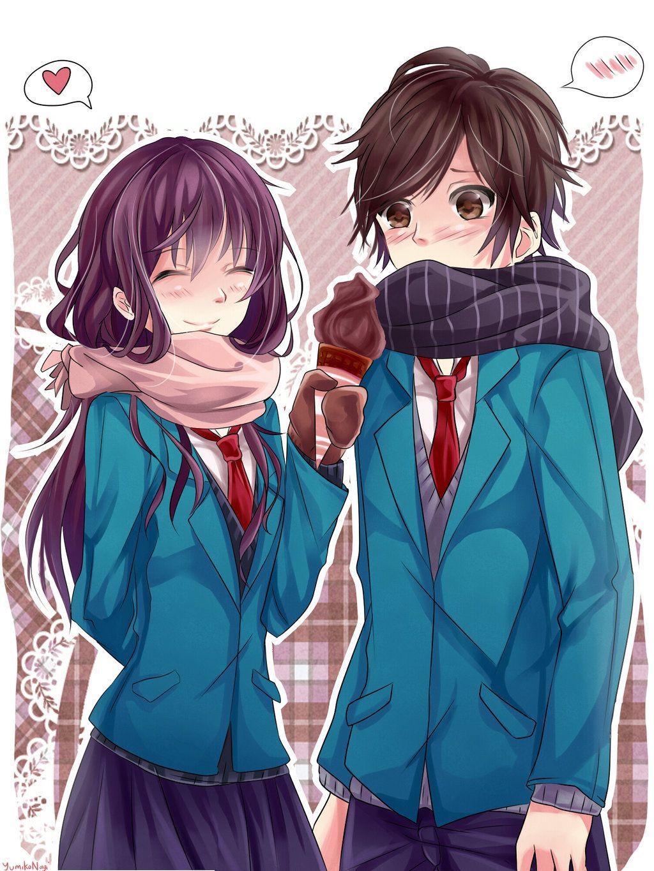 Honeyworks School Boy School Girl Casais De Anime Personagens De Anime Zutto Mae Kara