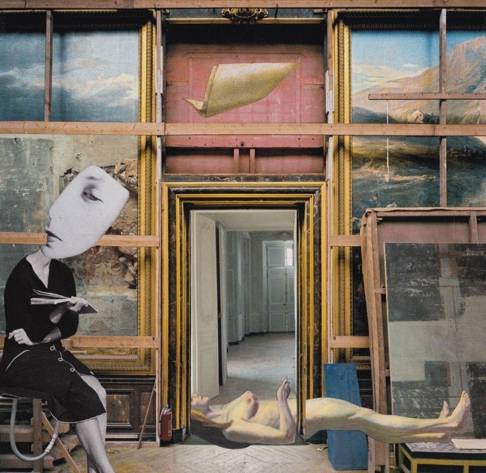 Surreali collage realizzati a mano combinano immagini e vecchie copertine di libri