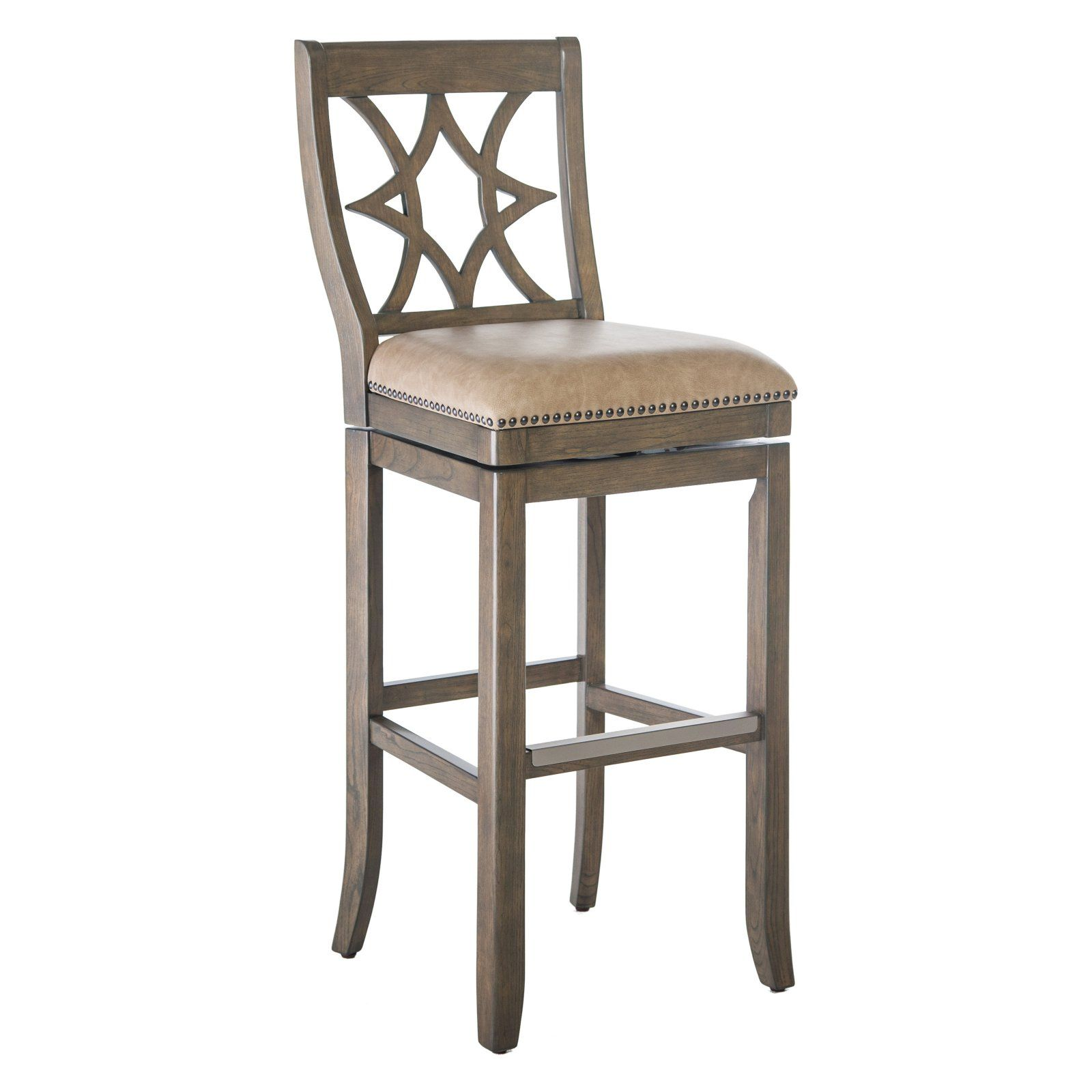 Belham Living Oliver Square Seat Swivel Extra Tall Bar Stool Taupe