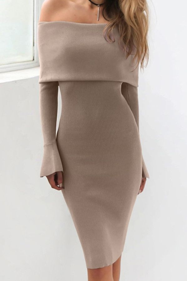 f7cb9cb8cf43 Khaki+Off+Shoulder+Flare+Sleeve+Bodycon+Sweater+Dress+ Khaki+ Dress+ maykool