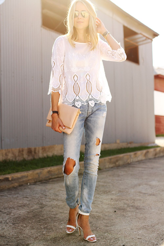 fe545033f06 fashion-jackson-banana-republic-white-lace-top-zara-ripped-jeans-white-heels -mirrored-aviator-sunglasses