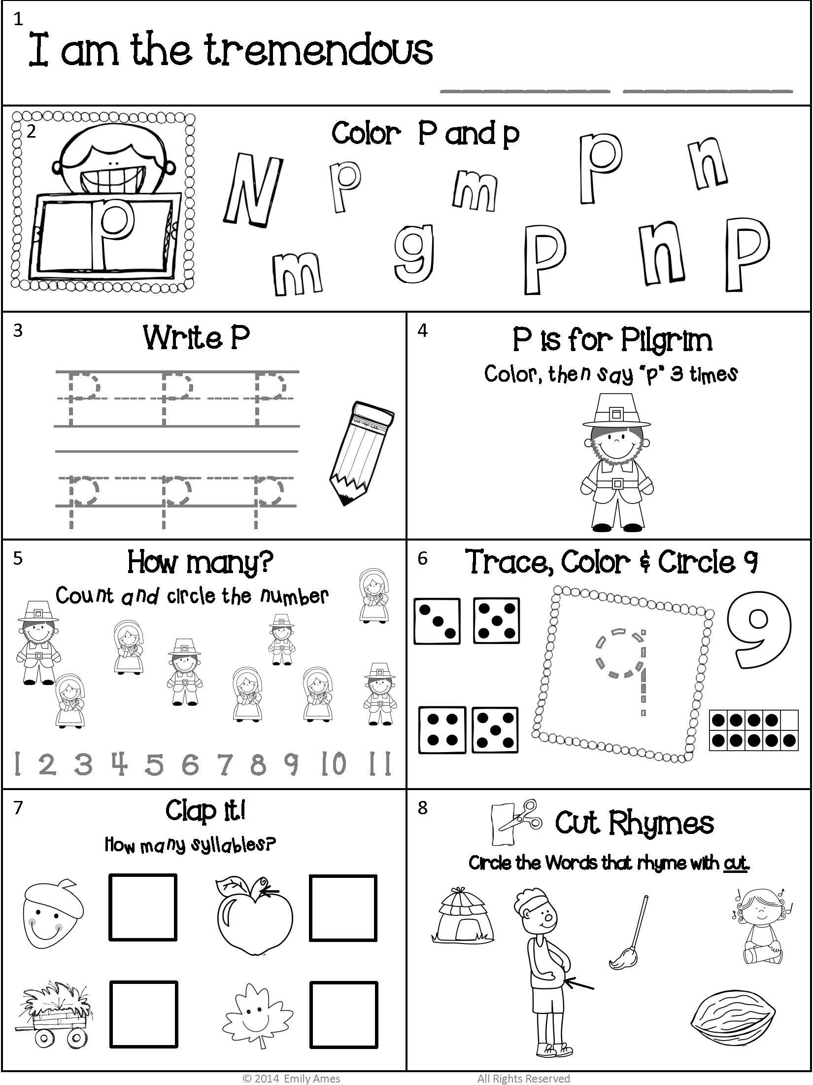 Homework Kindergarten November Packet Differentiated