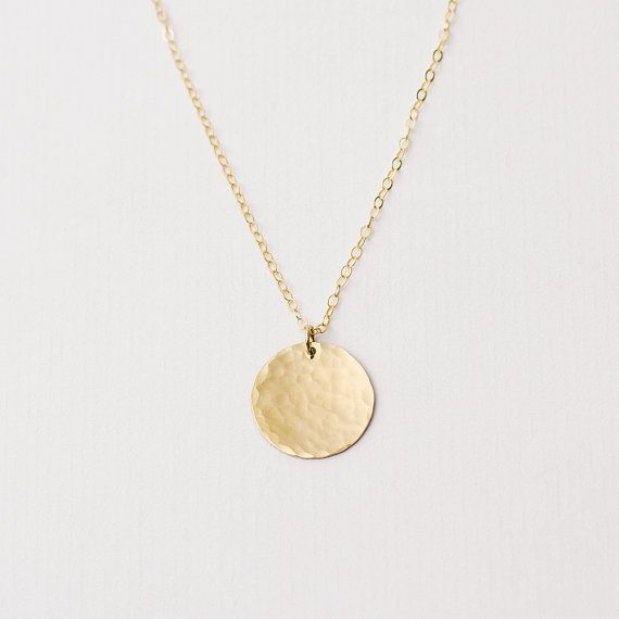 Large hammered gold disc necklace gold circle by MinettaJewellery