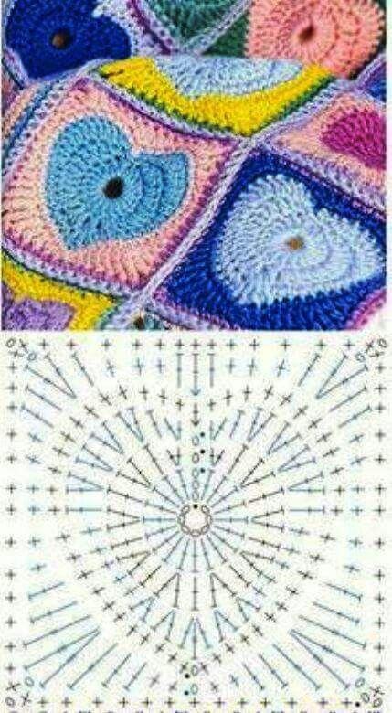 Crochet granny square corazón | crochet | Pinterest | Colchas y Patrones