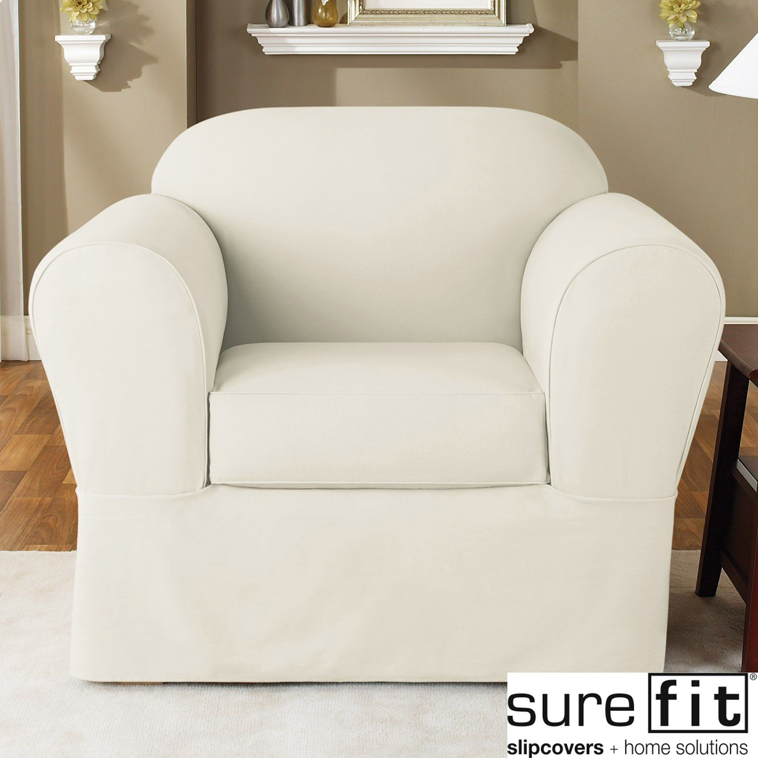 Sure Fit Twill Supreme (2 Piece) Chair Slipcover   Overstock™ Shopping   Big
