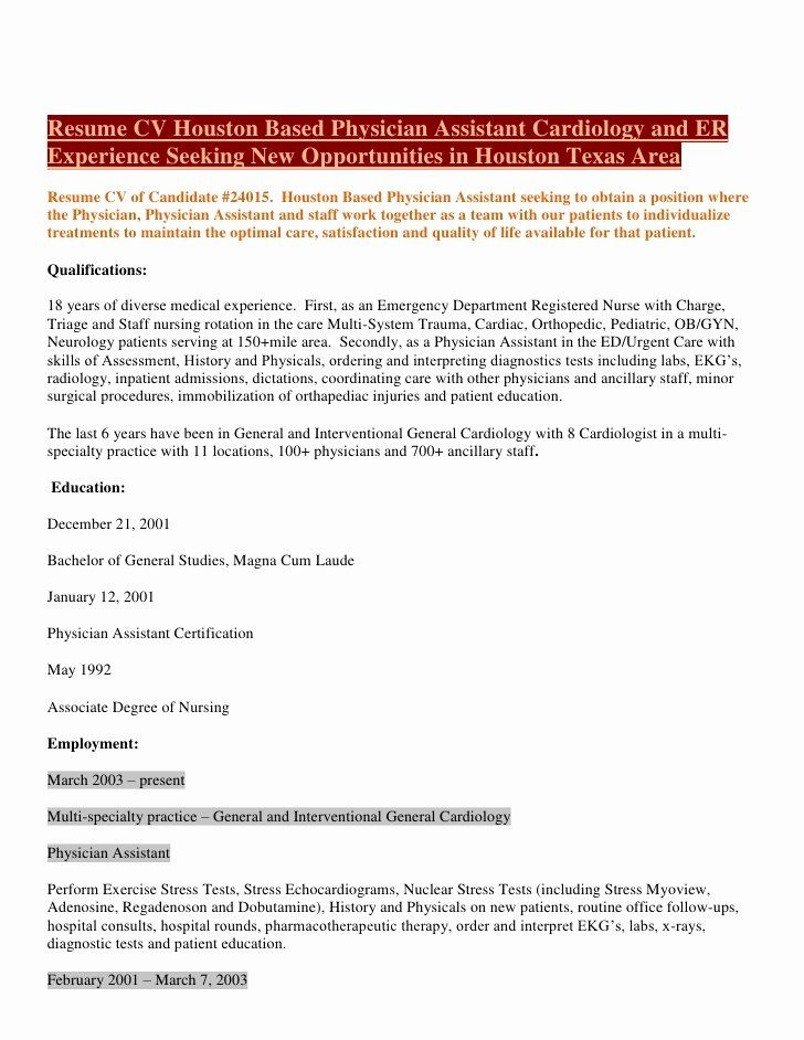 23 physician assistant resume examples in 2020 medical