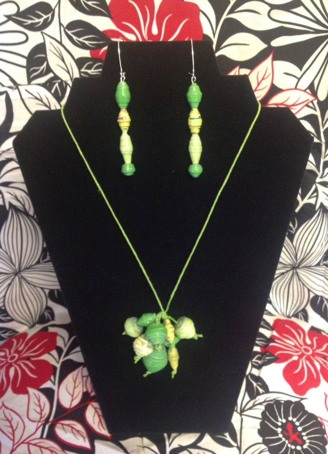 A personal favorite from my Etsy shop https://www.etsy.com/listing/224539789/spring-green-paper-bead-necklace-earring