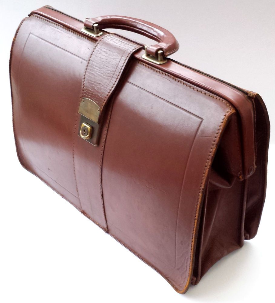 Vintage Doctors Brown Leather Gladstone Bag Mens Briefcase 1940s 50s 60s Cheney