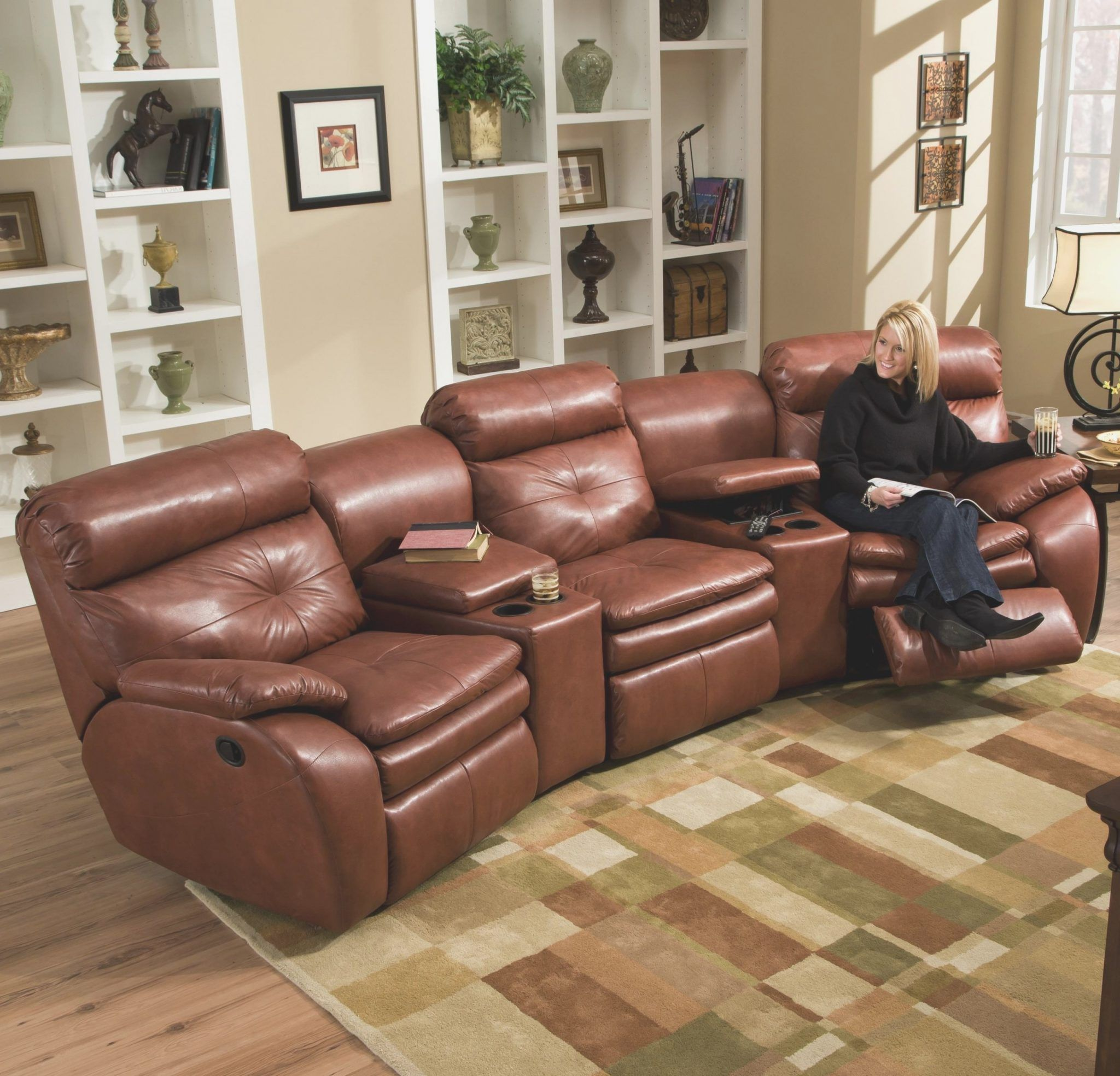 Sectional Recliner Sofa With Cup Holders Black Reclining Sofa