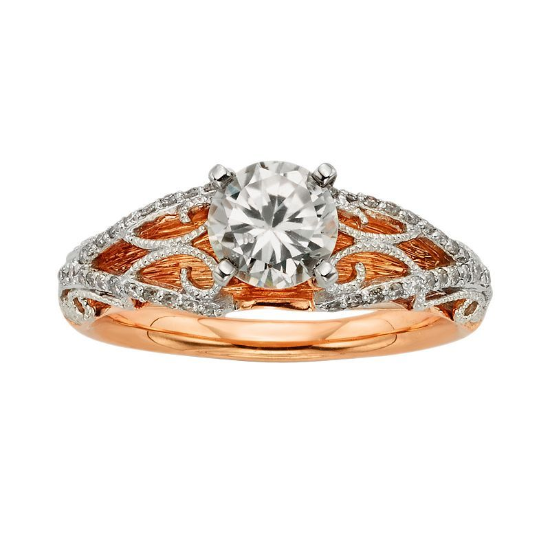Diamonds And Lace Round-Cut IGL Certified Diamond Filigree Engagement Ring in 14k Rose Gold and 14k White Gold (1 1/4 ct. T.W.), Women's, Size: