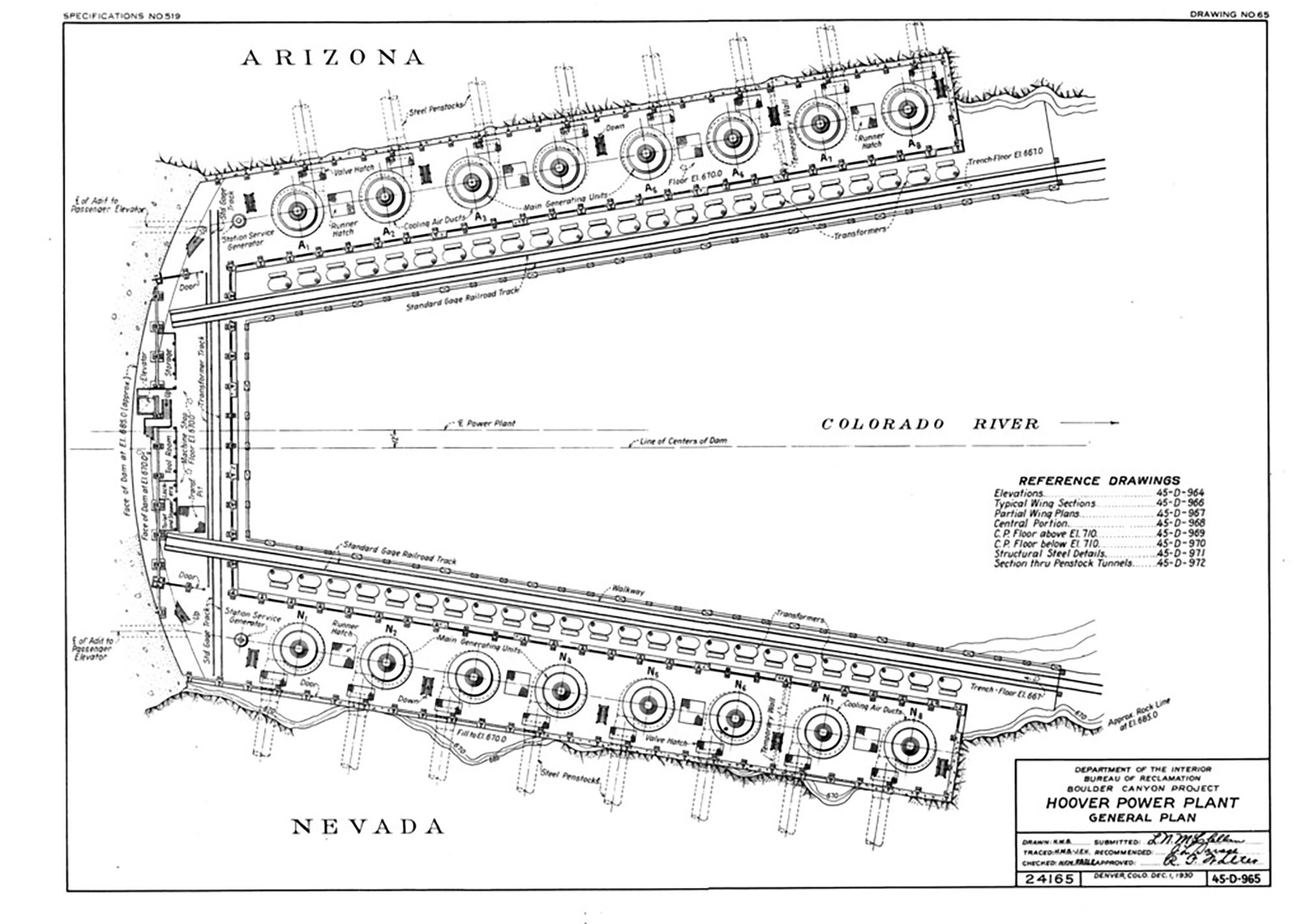 Hoover Dam Six Companies Inc Atlas Of Places Arc Dwgs Power Plant Diagram