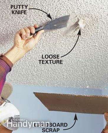 Patch A Water Stained Ceiling Or Textured Ceiling Ceiling Texture Water Stain On Ceiling Popcorn Ceiling Repair