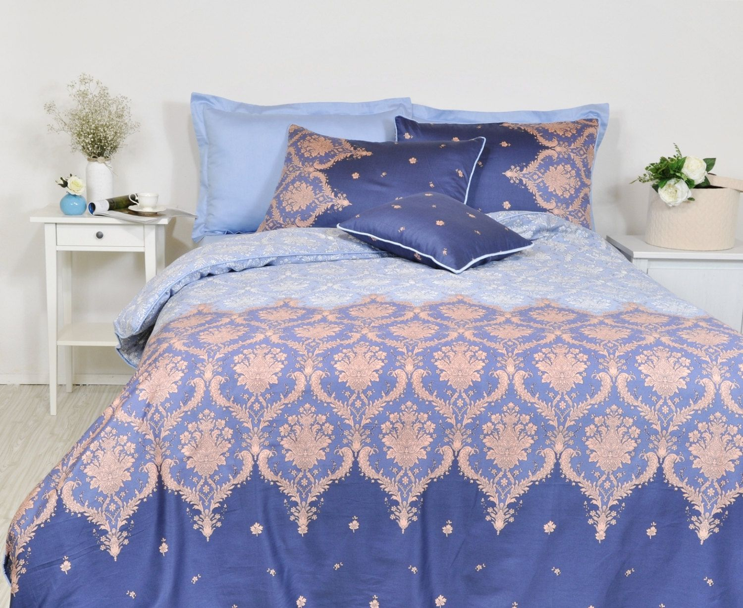 Damask bedding twin - Damask Duvet Cover Set In Navy Baby Blue For Full Queen King Size Damask Print Pure Cotton Sateen Fabric Moroccan Style Boho Bedding