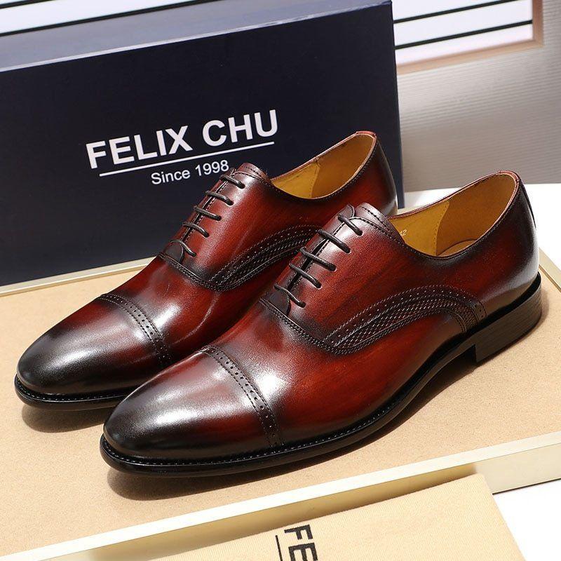 Felix Chu Handmade Genuine Leather Mens Dress Shoes Black Burgundy Cap Toe  Men Oxfords Wedding Office 662d1c8e78d