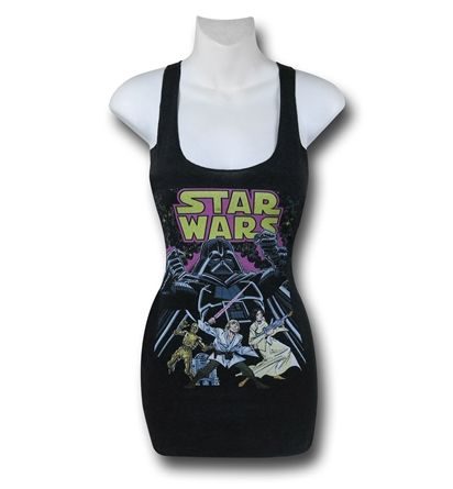 96d2d99d314bd4 The Star Wars Comic Wars Women s Tank Top has old school comic book art  featuring Princess Leia