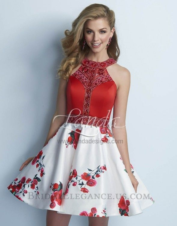 Beautiful red dress with beaded halter top and white floral skirt ...