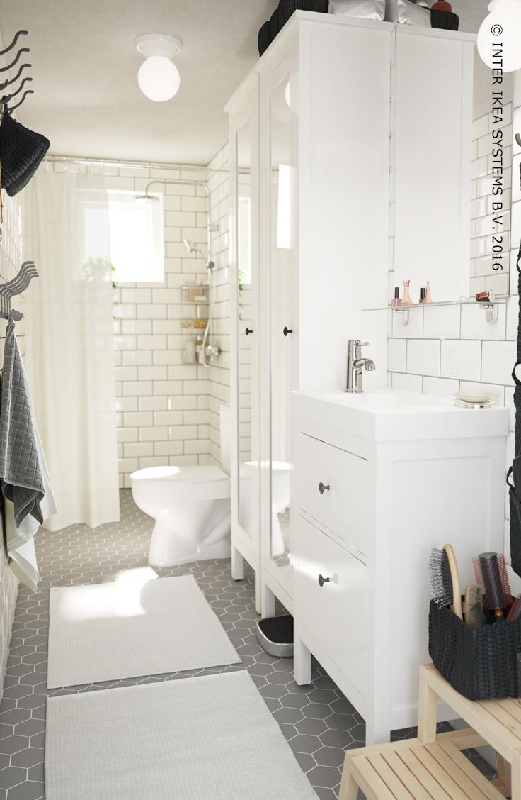 Hemnes meuble lavabo 2tir blanc hemnes for Hemnes salle de bain