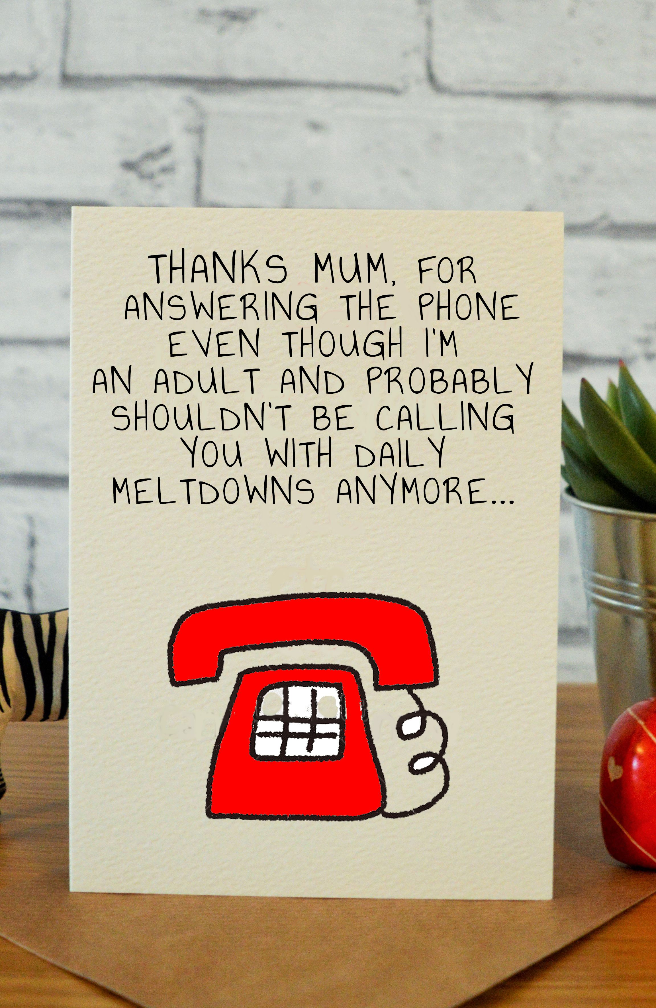 Answering The Phone Birthday Cards For Mom Birthday Cards For Mum Diy Gifts For Dad