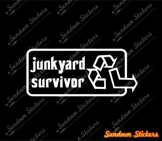 2X Junkyard Survivor stickers – old restored classic car decals