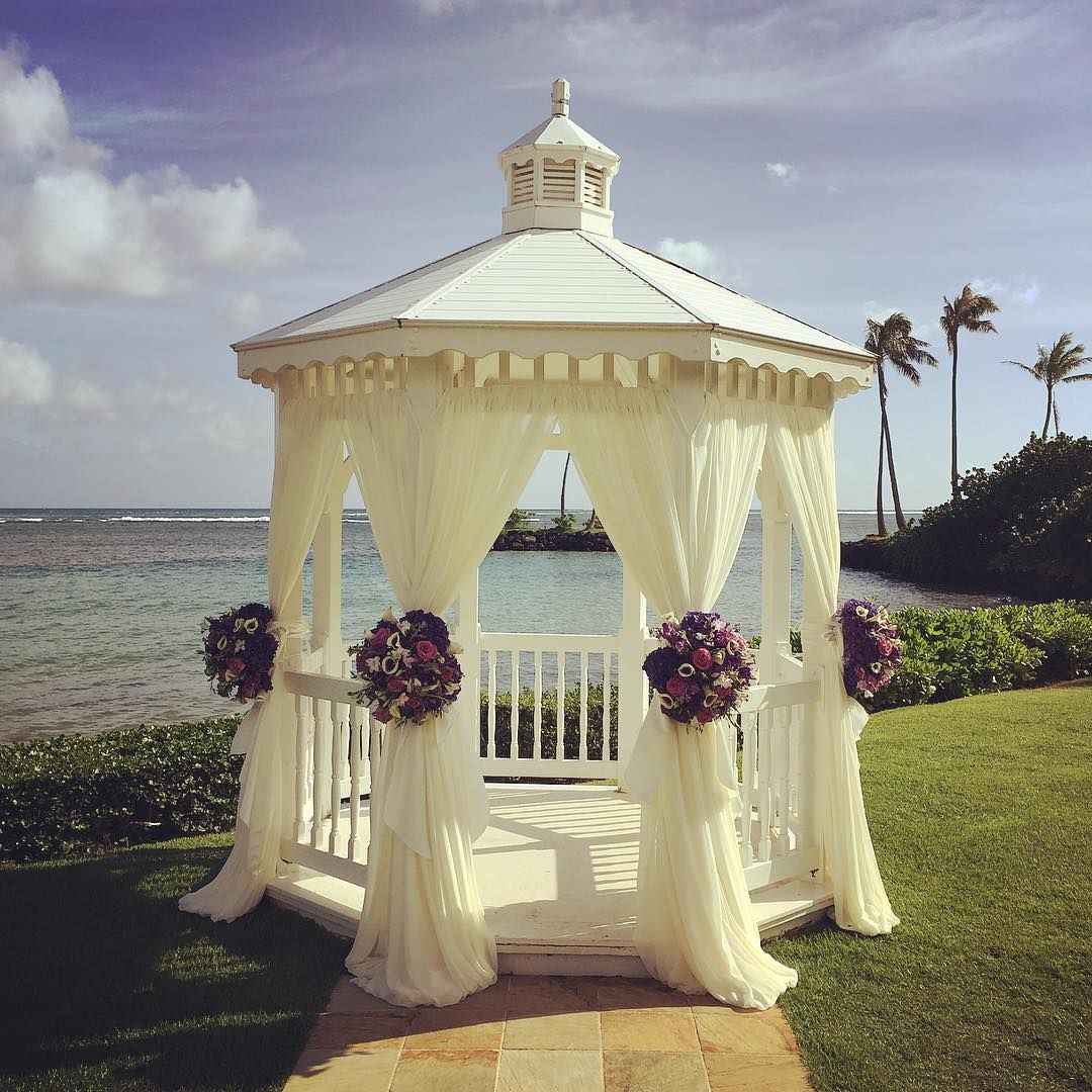 U201cWhat A Gorgeous Day For A Wedding At The Kahala Hotel! Loving Our  Ballerina Chiffon Gazebo Draping U0026 Gorgeous Blooms By
