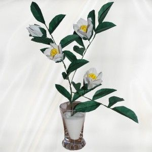 """Origami Stewartia Pseudocamellia"" - 35 folded elements (origami flower & foliage) - Worldwide Delivery  - $79.99"