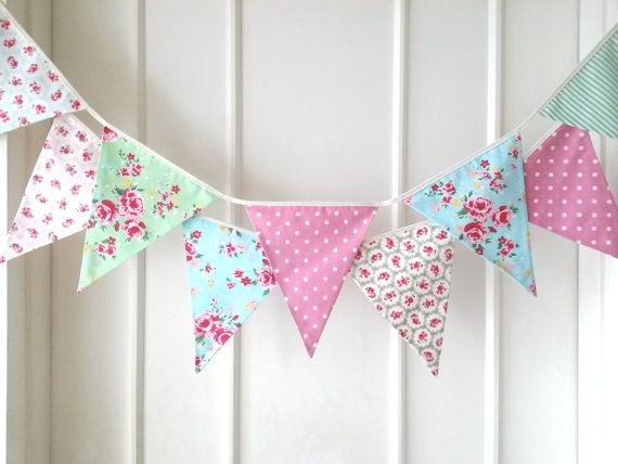 Floral Vintage Shabby Chic Personalised Birthday Party Bunting