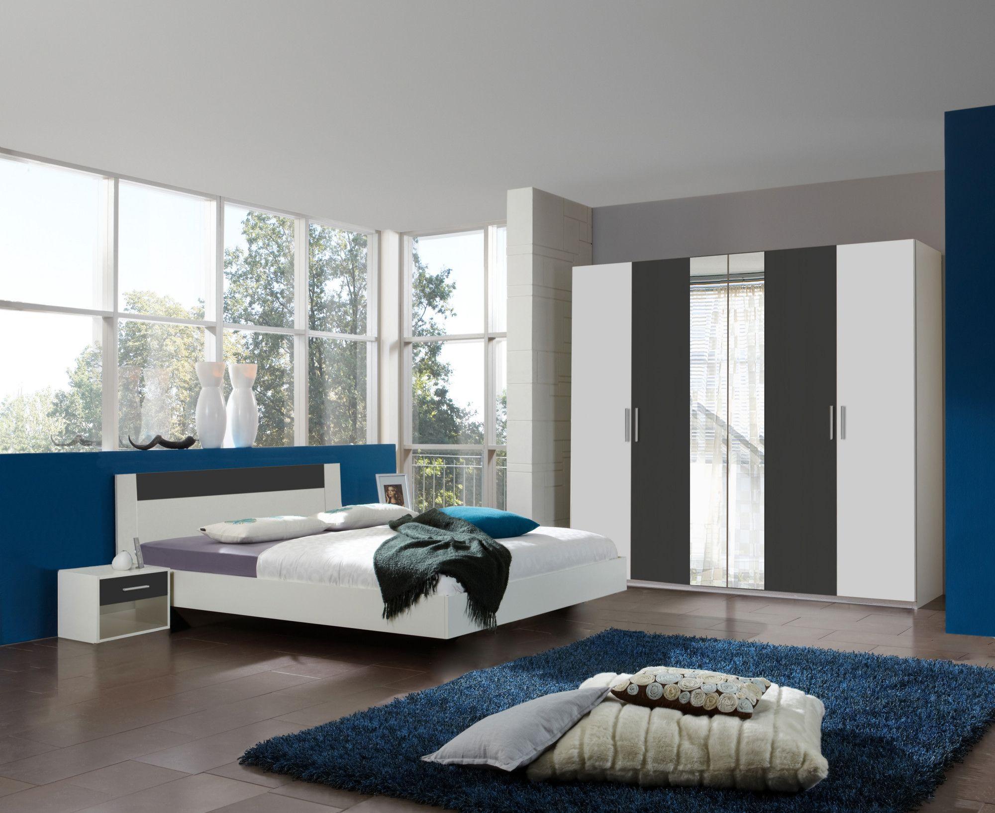 Schlafzimmer Mit Bett 160 X 200 Cm Alpinweiss/ Anthrazit Woody 132 01543 Holz  Modern