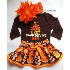 9091e3276eec My First Thanksgiving Day! Girls Thanksgiving Outfit