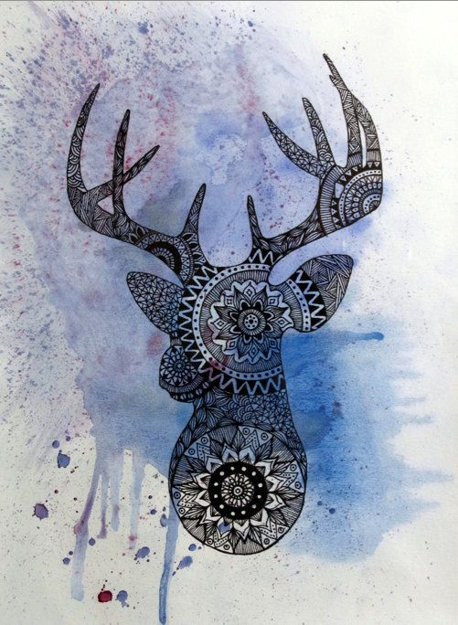 Original Deer Head Painting Mandala Mosaic Print By