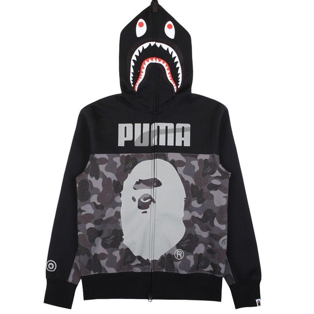 Darmowa dostawa gdzie kupić oficjalne zdjęcia Puma X Bape Shark Hoodie - Black Camo | Funny shirts, great ...