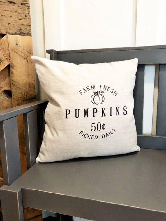 Amazon.com Farm Fresh Pumpkin Pillow Cover - Fall Decor - Fall Pillow Cover - Autumn Pillow C...