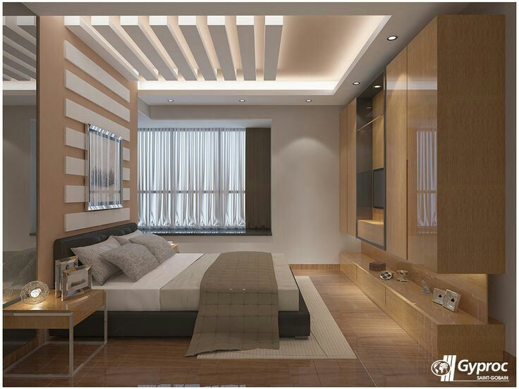 love the lighting above bed | Bedroom false ceiling design ...