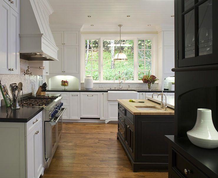 White U0026 Black Kitchen Design With White Kitchen Cabinets, Black Granite Counter  Tops, Farmhouse