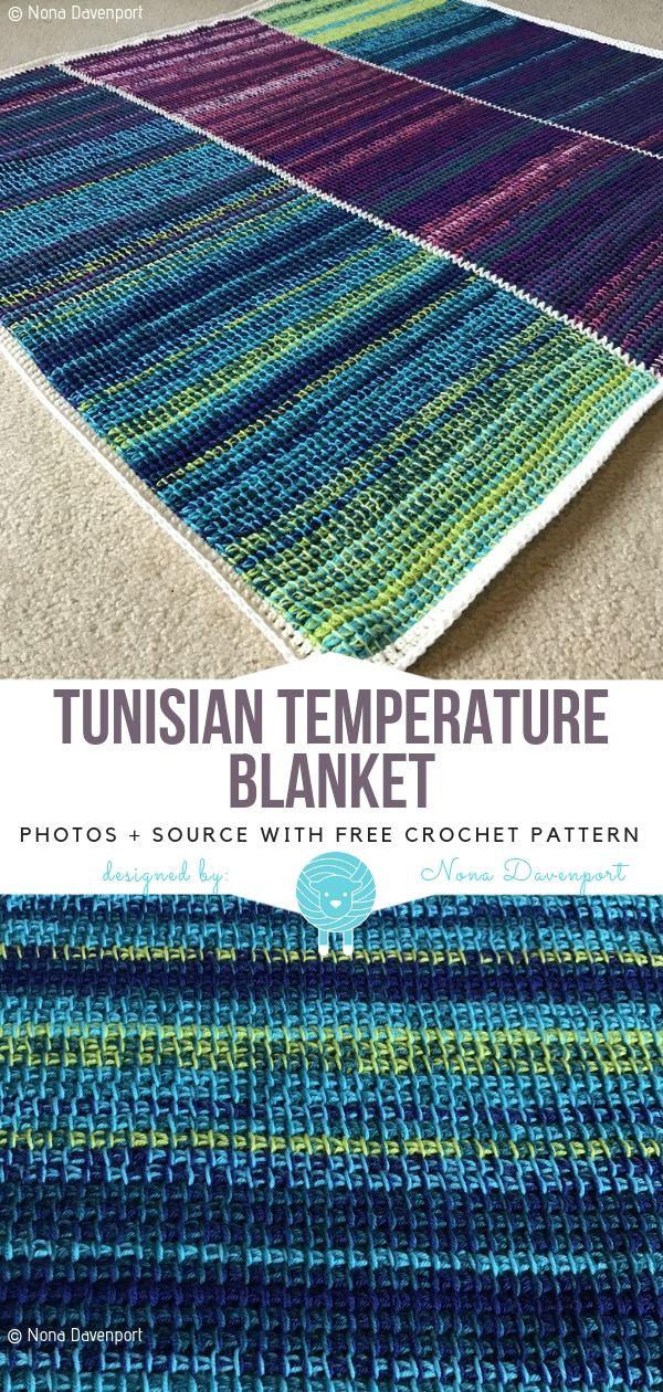 Crochet Temperature Blanket Ideas Free Patterns #tunisiancrochet