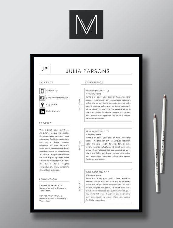 modern 2 page resume template 1 page cover by