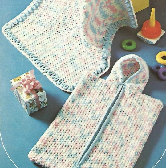 Crochet Baby Bunting Bag and Cover Vintage Pattern newborn wrap ...