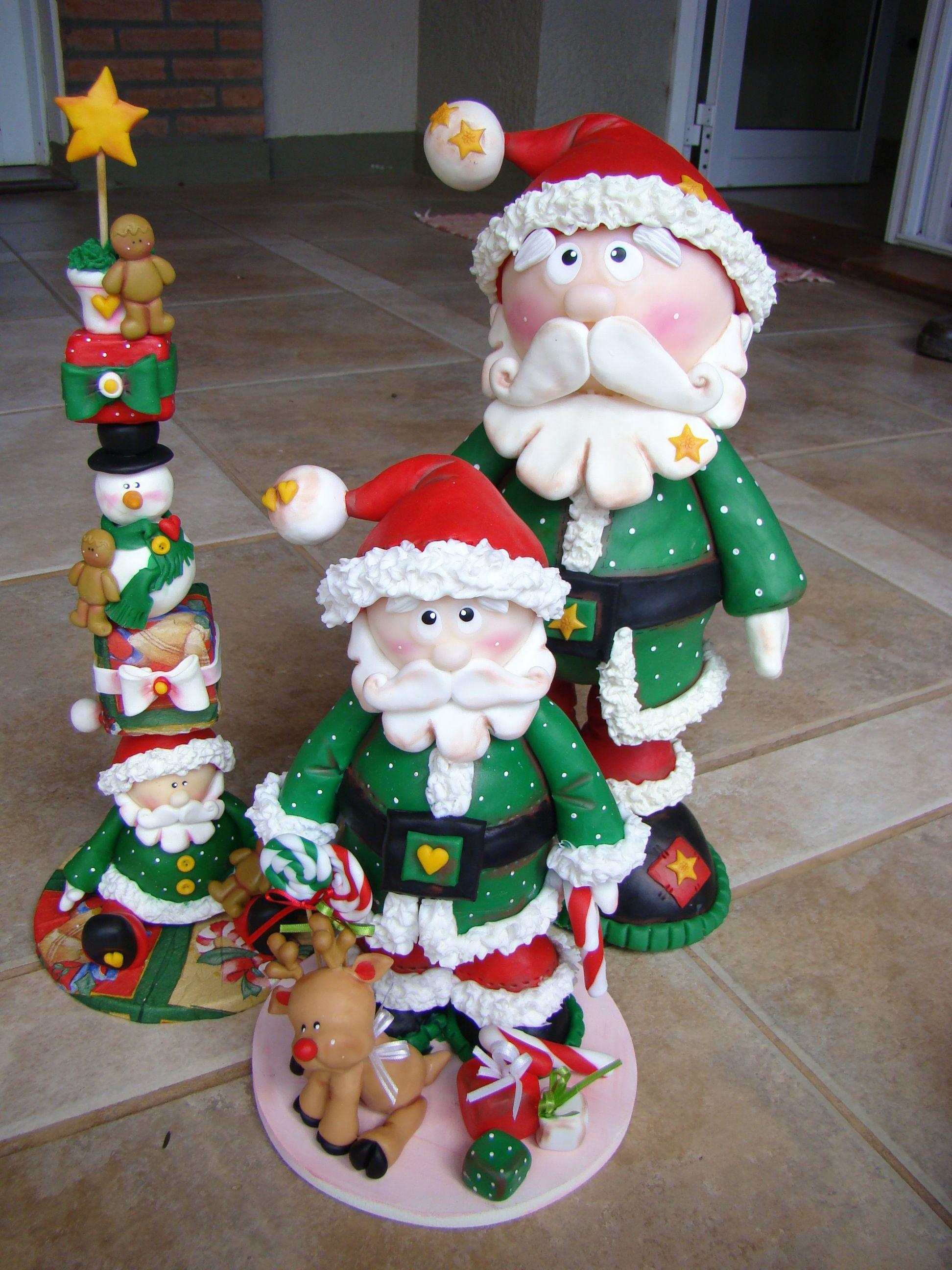 Papa noel y totem en porcelana fria navidad en porcelana for Adornos navidenos en porcelana fria utilisima